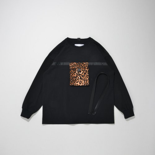 POUCH POCKET LONG T-SHIRT_BLACK/LEO_