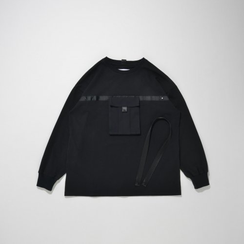 POUCH POCKET LONG T-SHIRT_BLACK/BLACK_