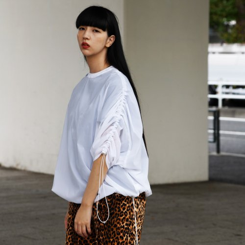 SHIRRING PULLOVER_N-WHITE_