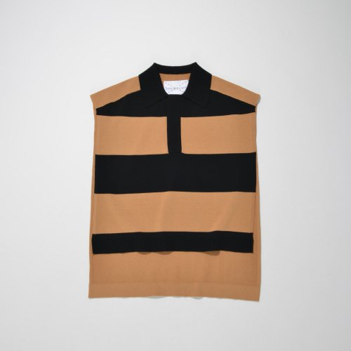 KNIT PONCHO BEST_BEIGE/BLACK_