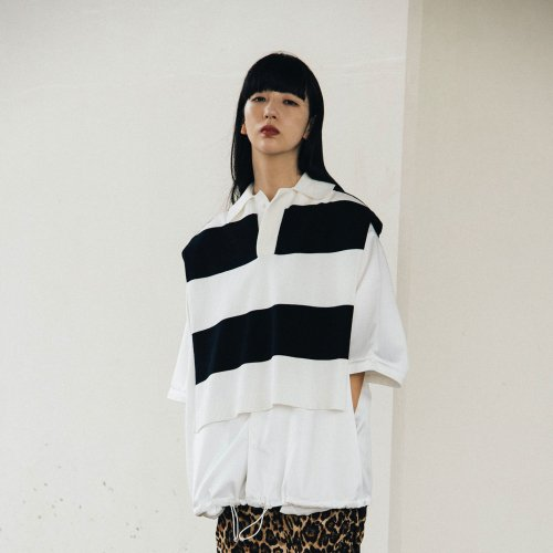 KNIT PONCHO BEST_WHITE/BLACK_