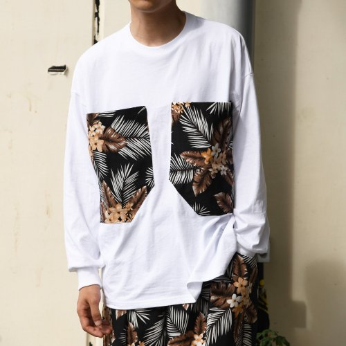 PATCH POCKET LONG T-SHIRT_WHITE/BOTANICAL_