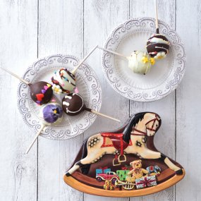 ★残りわずか★<br>【6本セット】おすすめポップケーキ+シルバークレイン缶(木馬)入り