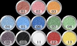 日本製のカラーサンド 粗粒(1mm程度の粒) Nタイプ茶・桃・橙・水色・青・群青・緑・黄緑・紫・黒・白・赤・黄の中からお好きな色を1色 200g
