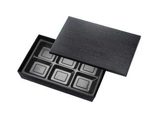 【貼箱 おもてなし膳】HSH-90-60テーパー型貼箱 黒木目エンボス(270-180-1黒 6ツ仕切)ケース(100入)