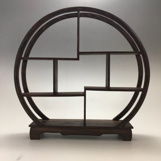 中国 茶器、小物用 飾り棚 円形 小サイズ 円形(ブラウンカラ―)