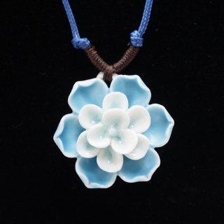 青い蓮の華の陶器ペンダント-2