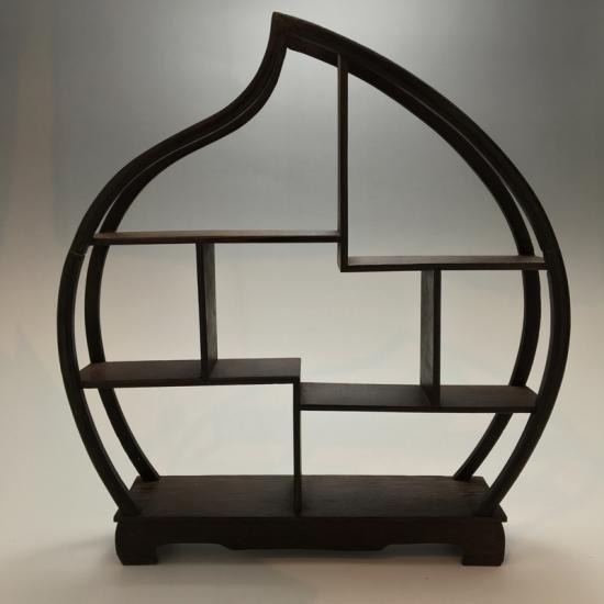 中国 茶器、小物用 飾り棚 円形 小サイズ 桃型(ブラウンカラ―)