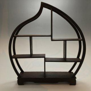 中国 茶器、小物用 飾り棚 小サイズ 桃型(ダークブラウンカラ—)