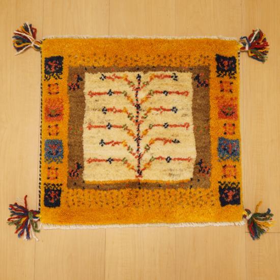 イラン・カシュガイ族の手作り絨毯 ギャッベ 座布団サイズ