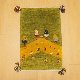 イラン・カシュガイ族の手作り絨毯 ギャッベ 60 x 39cm -01-