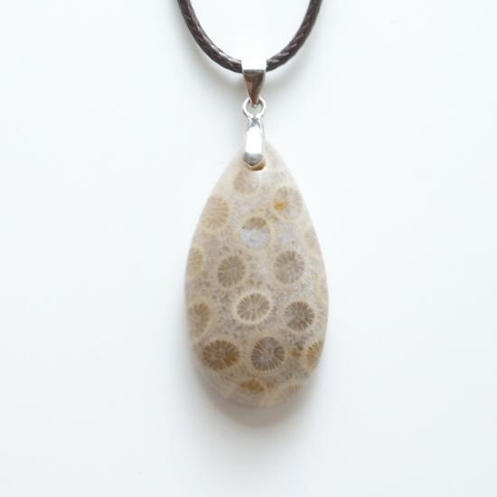 化石珊瑚のペンダント-1