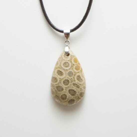 化石珊瑚のペンダント-3