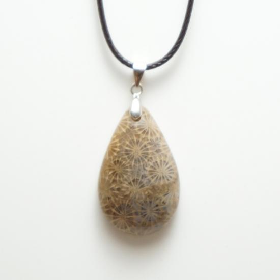 化石珊瑚のペンダント-4
