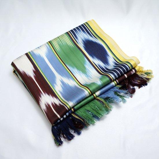 ウイグル ホータン伝統の手織りシルク アトラスシルクストール-8