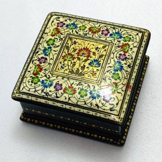 ウズベキスタン細密画木箱 正方形-03