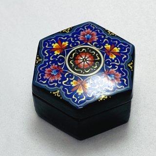 ウズベキスタン細密画木箱 六角形 小-01