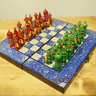 ウズベキスタン ハンドメイド民族風 木製チェス-02