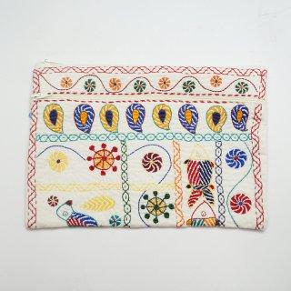 バングラディッシュ ノクシカタ刺繍 2連ポーチ1