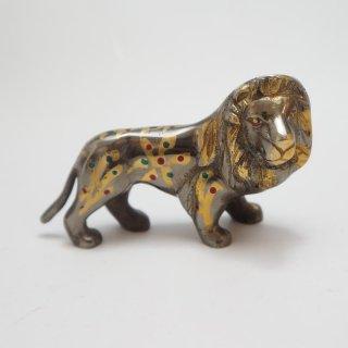 手彫り真鍮像 ライオン  小