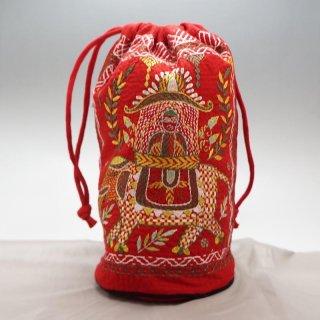 バングラディッシュ ノクシカタ刺繍 巾着 丸型 大 赤