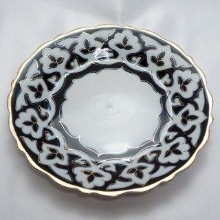 ウズベキスタン 綿花柄の皿 18cm