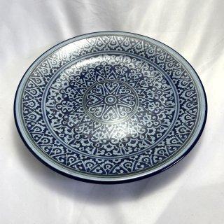 ウズベキスタン リシタンの陶器 皿ブルー 27cm