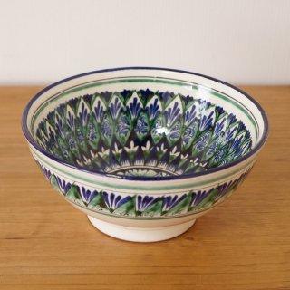 ウズベキスタン リシタンの陶器 お椀型 白 16cm 2