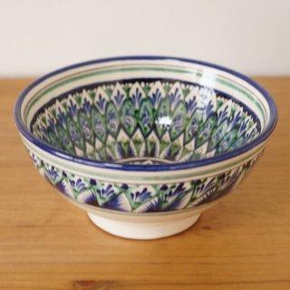 ウズベキスタン リシタンの陶器 お椀型 青 15.5cm 1