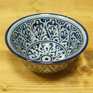 ウズベキスタン リシタンの陶器 カップ中 青-03