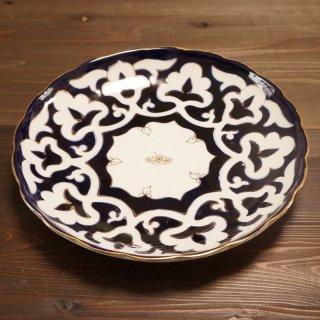 ウズベキスタン 綿花柄の皿 27cm