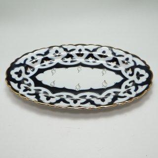 ウズベキスタン 綿花柄の皿 オーバル型 22cm