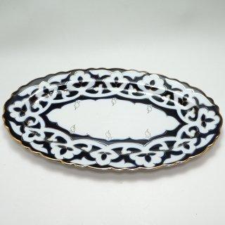 ウズベキスタン 綿花柄の皿 オーバル型 30cm