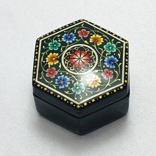 ウズベキスタン細密画木箱 六角形 小-02