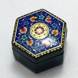 ウズベキスタン細密画木箱 六角形 小-03