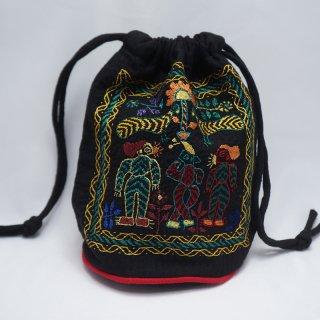 バングラディッシュ ノクシカタ刺繍 巾着 丸型 黒-2