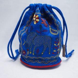 バングラディッシュ ノクシカタ刺繍 巾着 丸型 青
