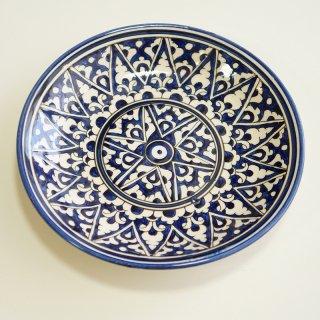 ウズベキスタン リシタンの陶器 皿 青・白 15.5cm 1