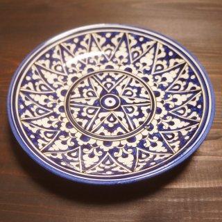 ウズベキスタン リシタンの陶器 皿 青・白 15.5cm 2