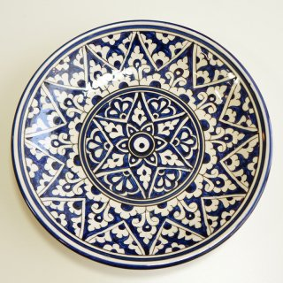 ウズベキスタン リシタンの陶器 皿 青・白 15.5cm 3