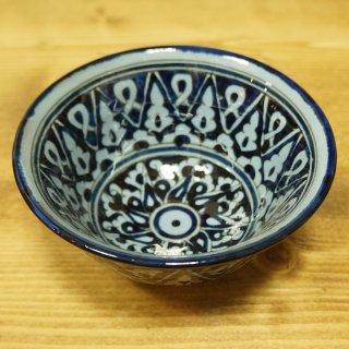 ウズベキスタン リシタンの陶器 カップ中 青-06