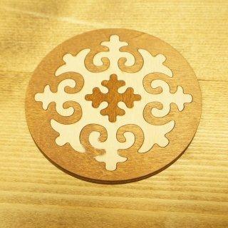 キルギスタン 民族模様 木製コースター2