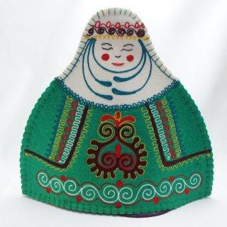 キルギスタン フェルト ティーコゼー 女性2