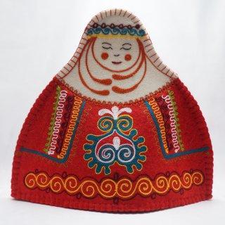 キルギスタン フェルト ティーコゼー 女性3