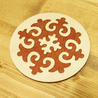 キルギスタン 民族模様 木製 ティーポットマット