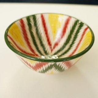 ウズベキスタン リシタンの陶器 アドラス模様 カップ 赤緑