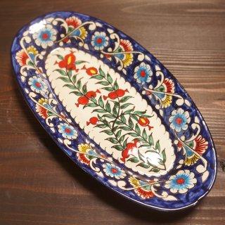 ウズベキスタン リシタンの陶器 ザクロ皿 オーバル2