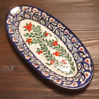 ウズベキスタン リシタンの陶器 ザクロ皿 オーバル3