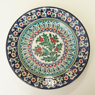 ウズベキスタン リシタンの陶器 皿 ザクロ模様 22.5cm