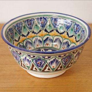 ウズベキスタン リシタンの陶器 お椀型 白 16cm 4